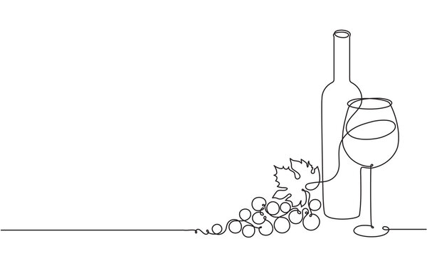 Wine glass, a bottle of wine and grapes. Still life. Sketch. Draw a continuous line. Decor