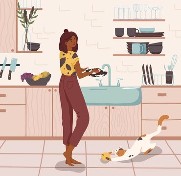 Young woman standing near sink and washing dishes in home kitchen. Daily housework, household chores, domestic lifestyle. Colored flat vector illustration of modern housewife cleaning plates