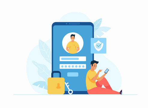 Online registration and sign up concept flat vector illustration. Young male cartoon character sitting next to huge smartphone and login to account on social media app. User interface. Secure login