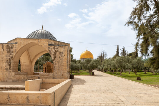 The Sebil  es-Sultam Suleiman and the Dome of the Rock mosque are on the Temple Mount in the Old Town of Jerusalem in Israel
