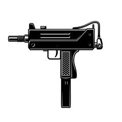 Illustration of automatic uzi handgun in monochrome style. Design element for logo, label, sign, poster. Vector illustration