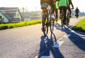 Fototapeta Młodzi ludzie jadą na rowerze w słoneczny dzień