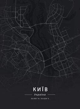 Map of Kyiv, Ukraine