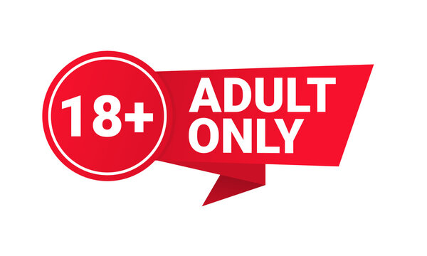 18 plus sign. Warning only for 18 years and over. Adult only. Illustration vector