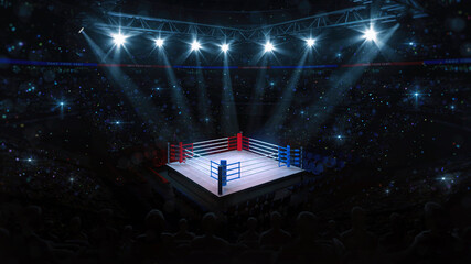 Boxing fight ring. Fans view of sport arena with shining spotlights. Digital sport 3D illustration.