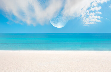 Fototapeta Salda white beach with full moon - Salda Lake, Burdur - Turkey
