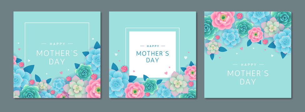 Happy Mother's day. Greeting card set with beautiful flowers and hearts on turquoise background. Banner or poster design template for mom's holiday