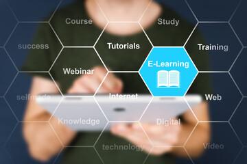 Fototapeta E-Learning Mann mit Tablet obraz