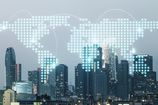 Abstract virtual world map with connections on Los Angeles skyline background, international trading concept. Multiexposure