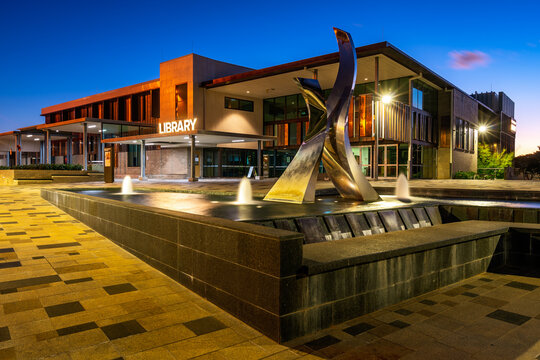 Toowoomba, Queensland, Australia - Apr 2, 2021: Public library building at night