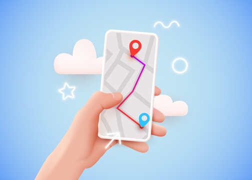 Hand holding phone with map and pointer. Mobile gps navigation and tracking concept. Background for web sites, banners. Location track app on touch screen smartphone.