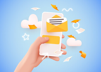 Fototapeta Hand holding mobile smart phone with mail app. Mail service concept.