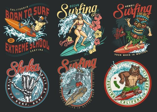 Surfing club vintage colorful labels