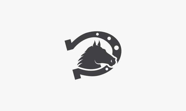 horse with horseshoe. vector illustration. isolated on white background.