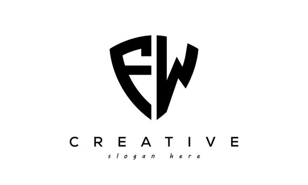 FW letter creative  logo with shield