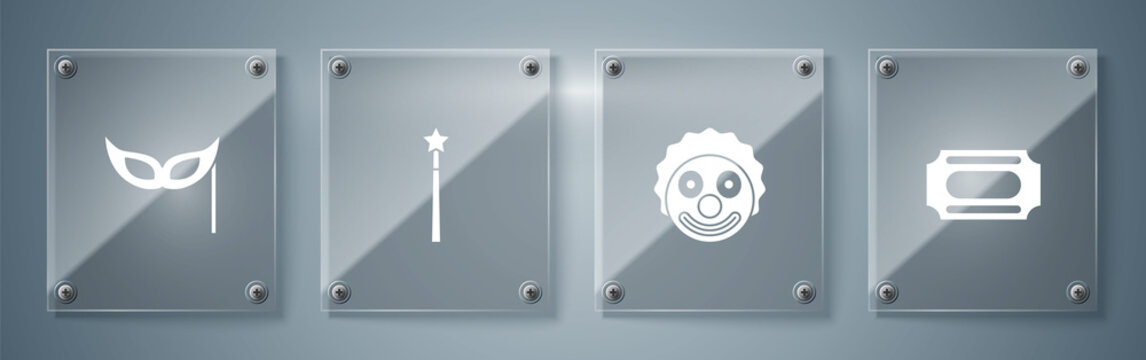 Set Circus ticket, Clown head, Magic wand and Festive mask. Square glass panels. Vector