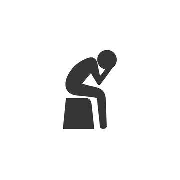 Stress headache depress, sad, man vector icon illustration