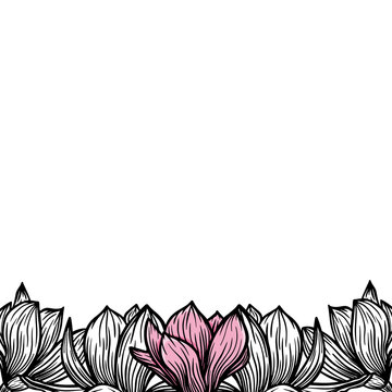 Border, frame of magnolia flowers, blooming flowers silhouette. Spring, floral design for cards, invitations, packaging