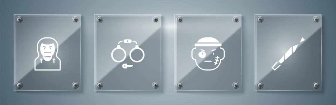 Set Marijuana joint, Bandit, Handcuffs and Thief mask. Square glass panels. Vector