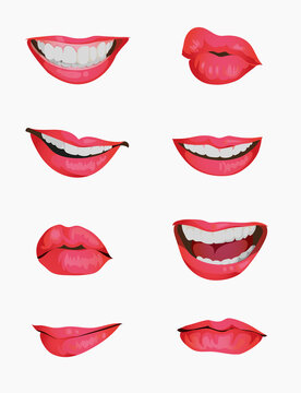 Set mouth emotions animation. Lip sync animated phonemes for woman character sign. Mouths with red lips speaking animations in english language text for education shape isolated symbol vector set