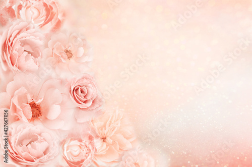 beautiful roses flower border in soft pink, peach vintage color tone with glitter romance background for valentine or wedding, mother's day card