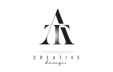 Fototapeta AT a t letter design logo logotype concept with serif font and elegant style vector illustration. obraz