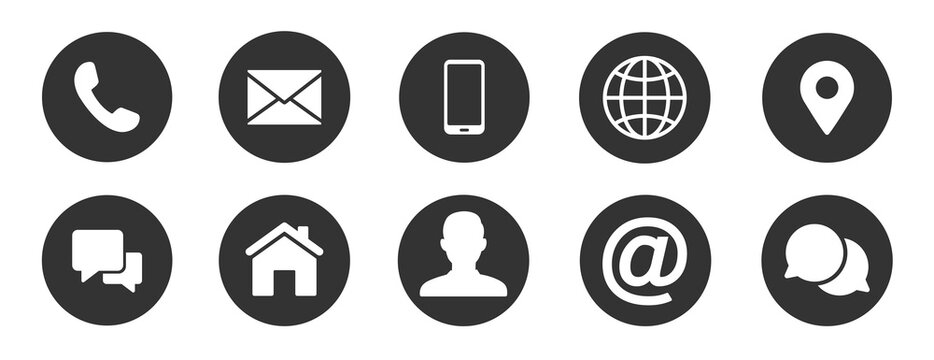 Contact information icons, vector for business card and website
