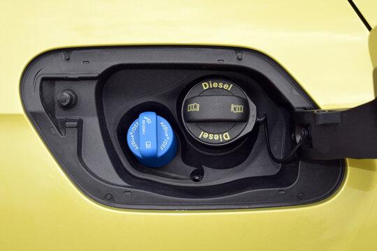 Diesel fuel tank cap and AdBlue fluid tank cap