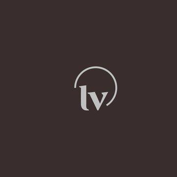 LV initials logo monogram with circles