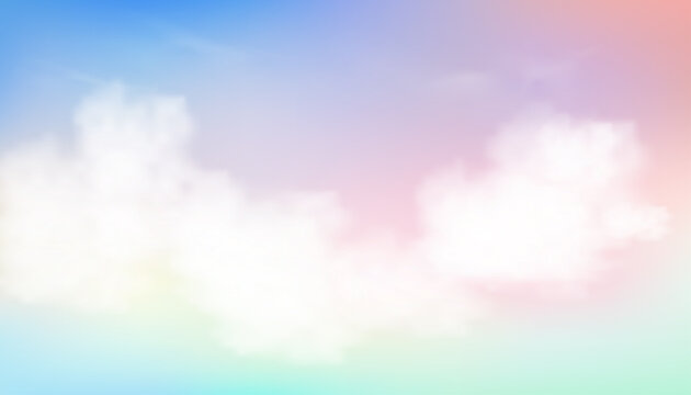 Sky Pastel Colourful in Blue, Pink, Purple, Green, Orange and Yellow with fluffy clouds in morning, Fantasy magical sunset sky on spring or summer,Vector sweet background banner for seasonal sale