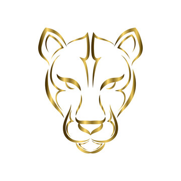 gold line art of cougar head. Good use for symbol, mascot, icon, avatar, tattoo, T Shirt design, logo or any design you want.