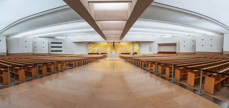 Panoramic view of Basilica of the Most Holy Trinity Interior at Sanctuary of Fatima - Fatima, Portugal