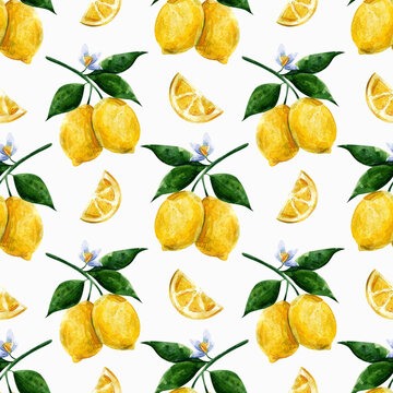 seamless watercolor pattern juicy lemon for printing on fabric, wallpaper, paper