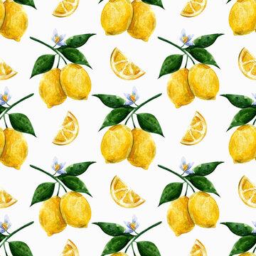 seamless watercolor pattern juicy lemon for printing on fabric, wallpaper, paper