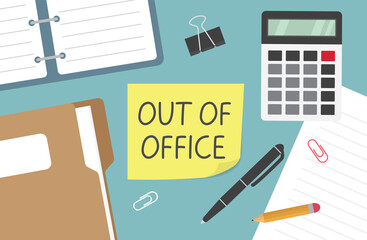Fototapeta out of office written on yellow sticky note - vector illustration