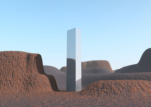 A mysterious metallic monolith in the middle of a rocky desert landscape. 3d Illustration
