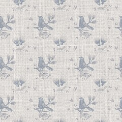 Seamless french farmhouse bird linen printed fabric background. Provence blue pattern texture. Shabby chic style woven background. Textile rustic scandi all over print effect. Watercolor paint motif