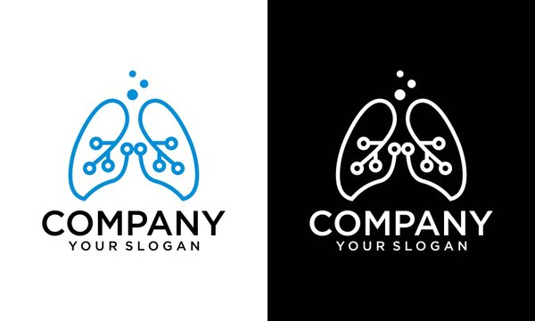 Creative Digital Lungs Care logo Template, Healthy Lungs logo design, human lungs logo designs template, lungs technology logo design vector, respiratory system logo designs