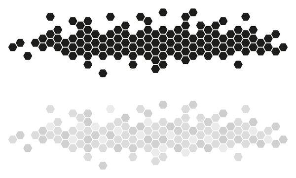 BANNIÈRE D'ALVÉOLES EN NID D'ABEILLE noir et gris