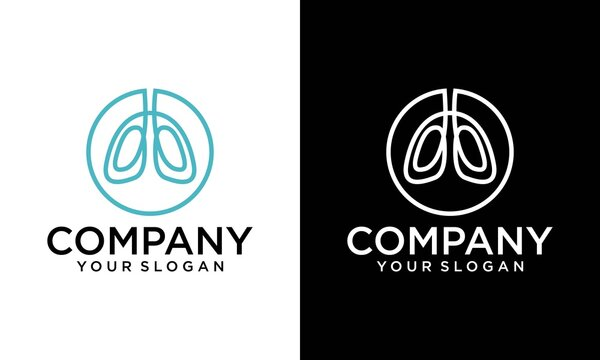 lungs line logo, breath linear sign on white background - editable vector illustration