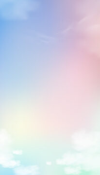 Sky Pastel Colourful in Blue,Pink,Purple,Orange and Yellow with fluffy clouds in morning,Fantasy magical sunset sky on spring or summer,Vector Vertical sweet background banner for seasonal