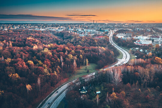 Aerial View Of City During Sunset During Autumn