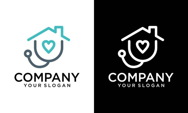 home care icon template. house with stethoscope mono line art vector template