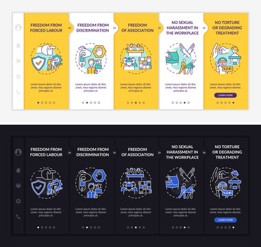 Migrant workers freedoms onboarding vector template. Responsive mobile website with icons. Web page walkthrough 5 step screens. Immigrant right light and dark concept with linear illustrations