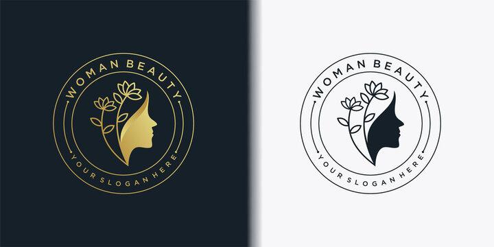 Woman beauty logo template with golden gradient emblem concept