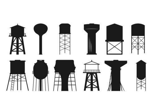 Water tower SVG, Water tower Silhouette, Water Tower Cut File, Water tower cutting files, printable design, Water Tower Clipart, Water Svg