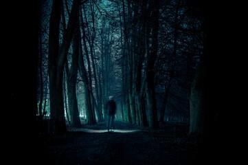 Fototapeta duch mężczyzny we mgle w nocy na cmentarzu obraz