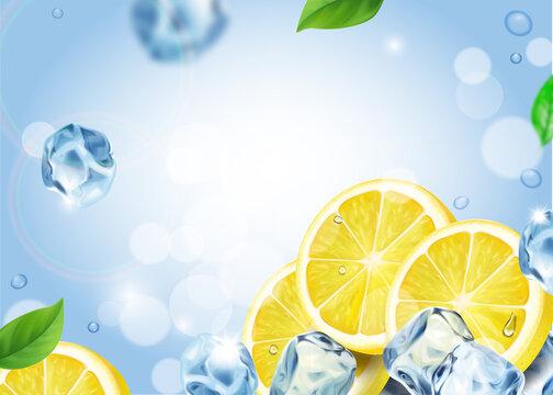 Lemon fruit with ice cubes refreshing background. Falling lemon slices realistic vector