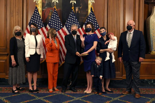 U.S. Representative-elect Letlow is ceremonially sworn in by House Speaker Pelosi at the U.S. Capitol in Washington