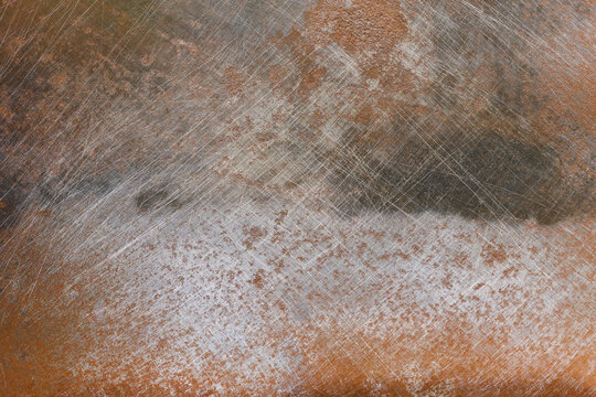 Oxidized rusty metal texture with scratches